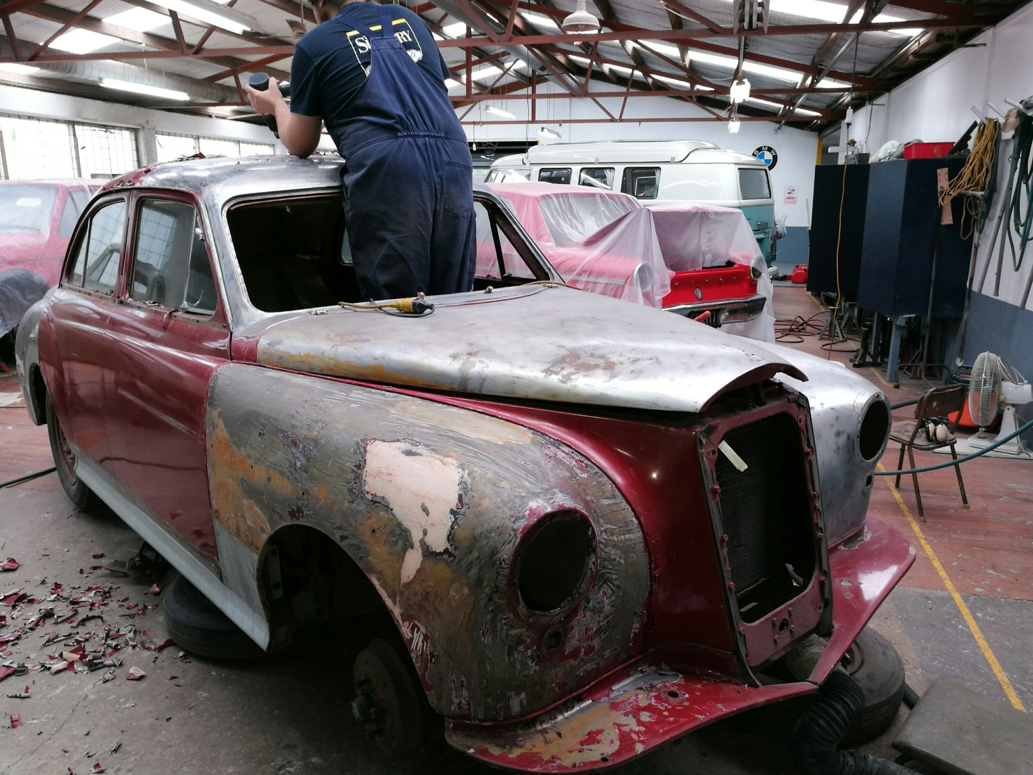 Carefully Hand Stripping The Wolseley Body Shell The